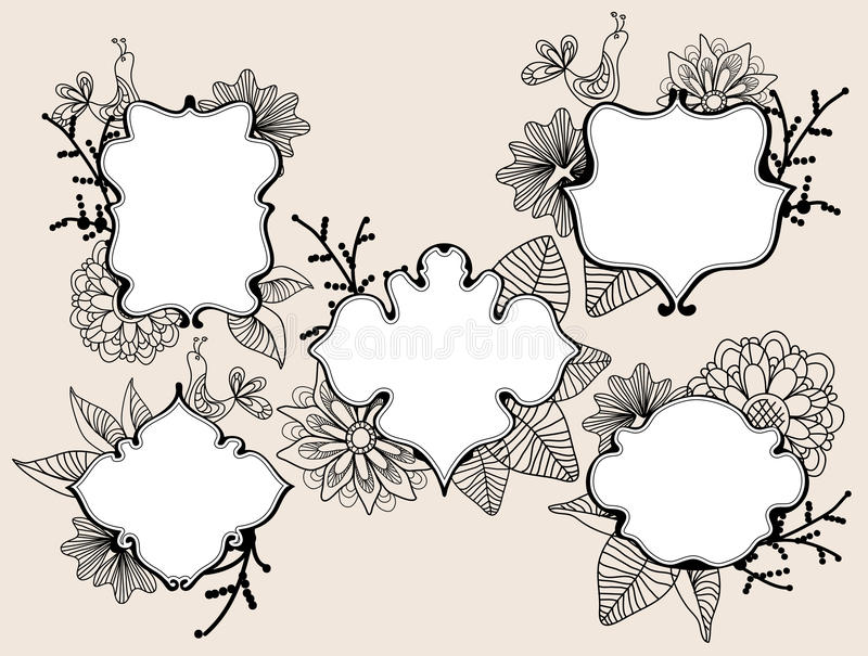 Download Set Of Beautiful Five Labels Stock Vector - Illustration of greeting, flower: 22897445