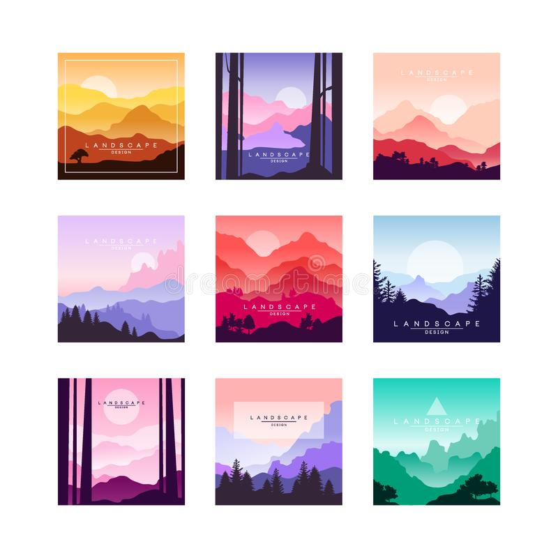 Set of beautiful flat cartoon landscapes with mountains, hills and forest. Natural theme. Vector collection of nature vector illustration