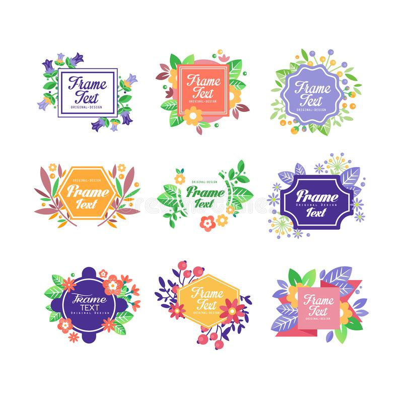 Set of beautiful floral frames with place for message. Save the date. Flat vector with blooming flowers for postcard or royalty free illustration