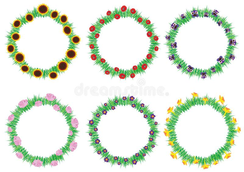 Set of colorful spring and summer flowers wreaths isolated on white background. vector illustration