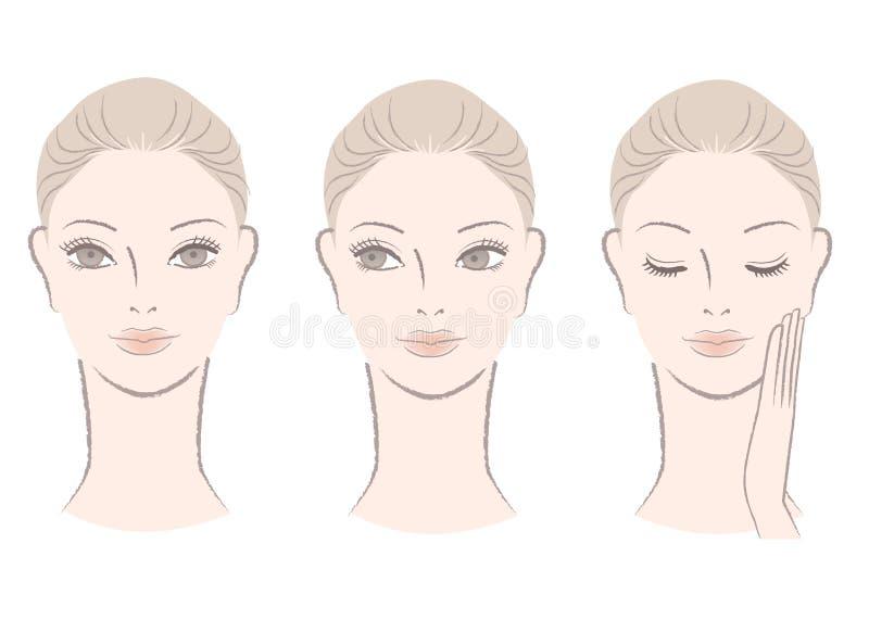 Set of Beautiful fresh woman portrait stock illustration