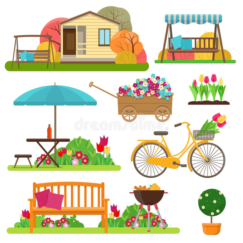 Set of beautiful garden scene with flowers, bike, garden furniture and decor royalty free illustration