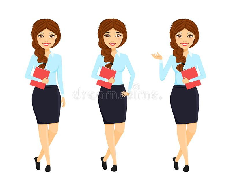 Set, beautiful girl in a business suit and in different poses. Office work. Character. Business and Finance. Flat style on white background. Cartoon royalty free stock image
