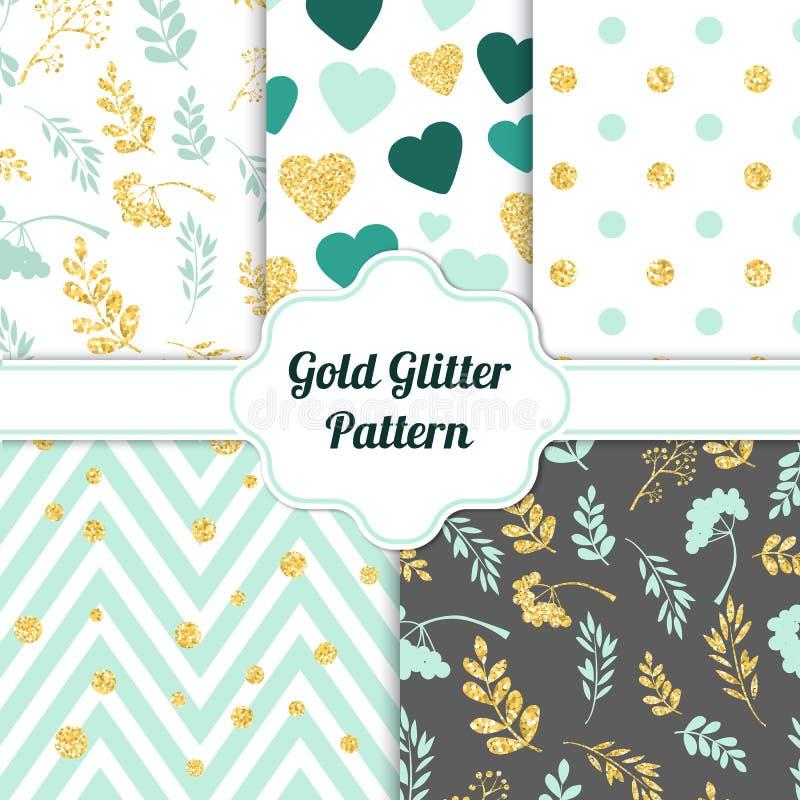 Set of beautiful golden glitter seamless patterns for different festive designs. Vector illustration royalty free illustration
