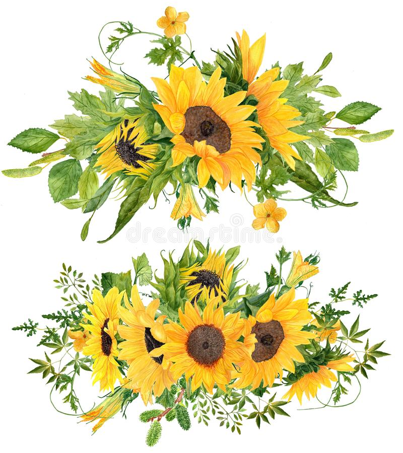 Set of 2 Beautiful hand painted watercolor sunflower bouquets royalty free stock photography
