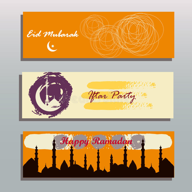 Set of beautiful header or banner for ramadan kareem. And eid with colorful background and mosque. vector illustration stock illustration