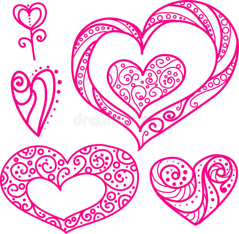 Set of beautiful line art doodle hearts. royalty free stock photo