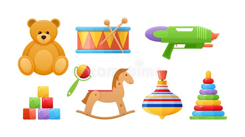 Set of beautiful logic developing colored children`s toys. royalty free illustration