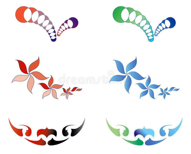 Download Set Of Beautiful Logos, 2 Variants Of Color Stock Vector - Illustration: 20770785