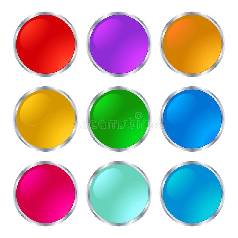 Set beautiful shiny buttons on a white background stock illustration
