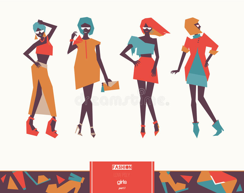 Set with beautiful stylish fashion girls posing. Vector geometric low poly illustration with vogue women silhouettes with bright c stock illustration