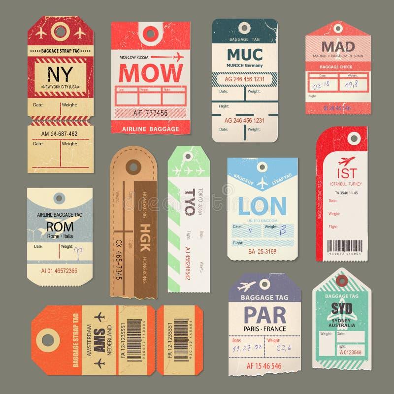 Set of beautiful vintage luggage tag, vintage retro travel label. stock illustration