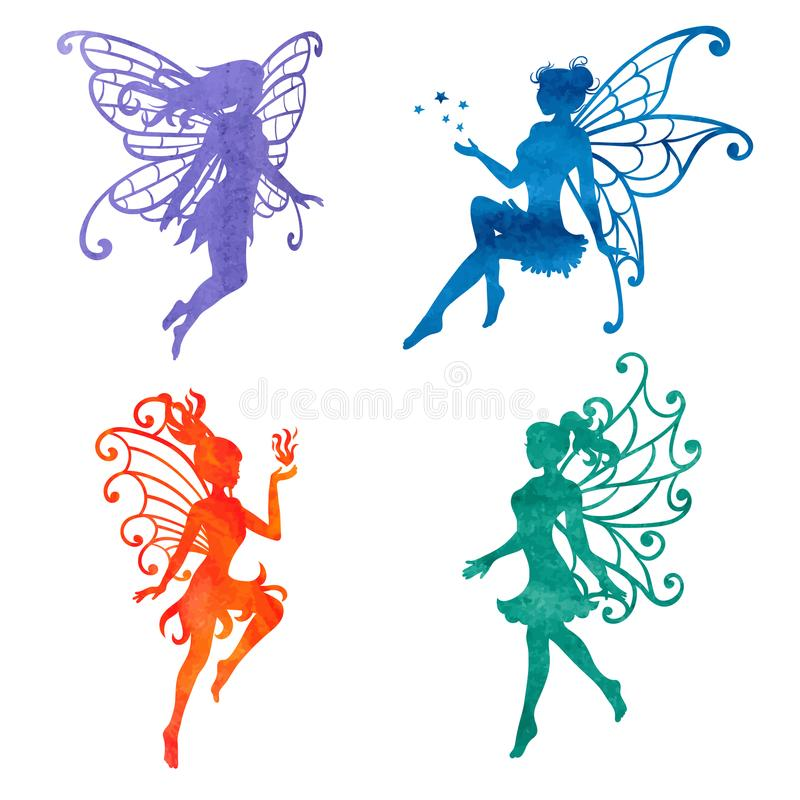 Set of beautiful watercolor fairy. royalty free illustration