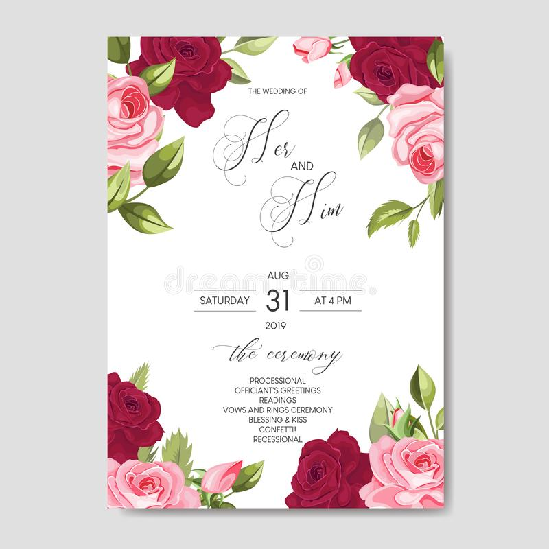 Beautiful wedding invitation card template with floral leaves. Set of beautiful Wedding invitation Card,save the date thank you card,rsvp with floral and leaves royalty free illustration
