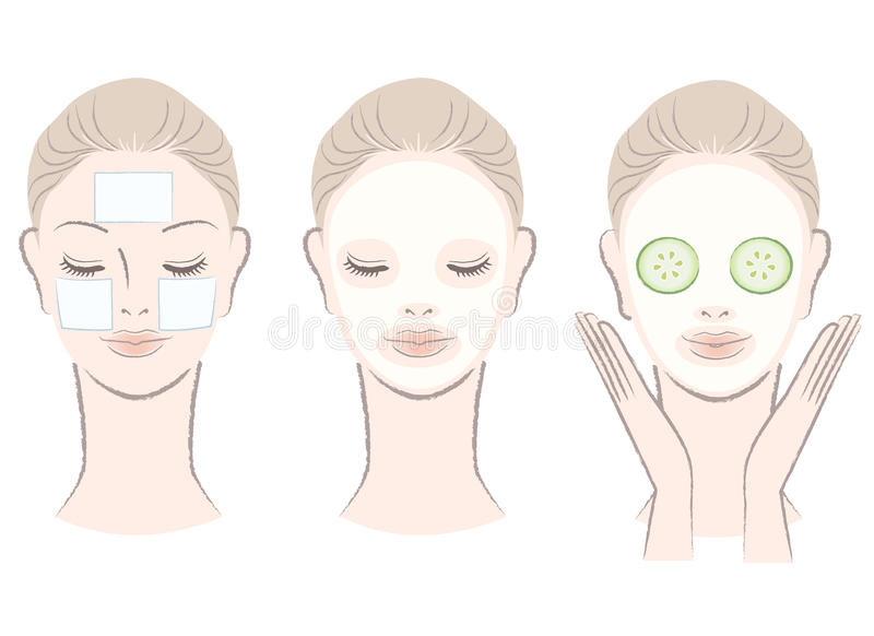 Set of beautiful woman with face mask. Set of elegant, beautiful woman with face mask. Clay,Cotton pad, Cucumber slice mask. Isolated, Hand-drawn like style stock illustration
