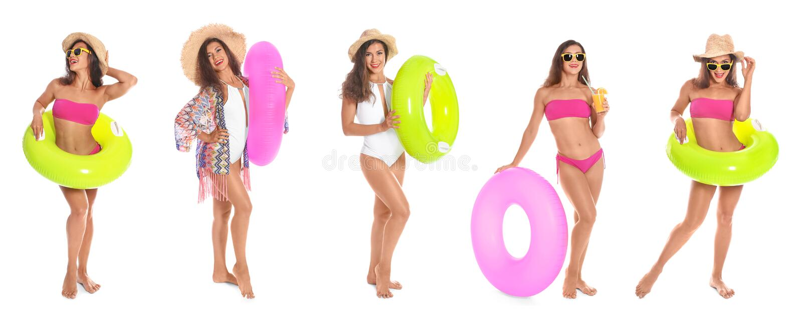 Set of beautiful woman with inflatable rings stock photography