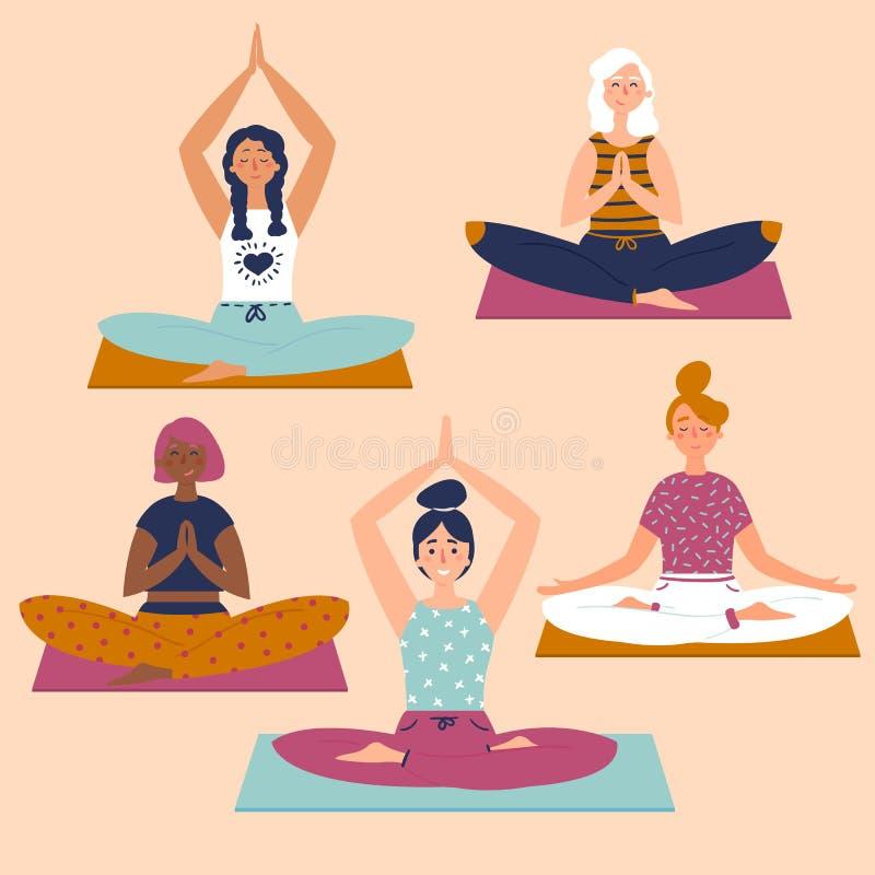 Set with beautiful women in lotus pose of yoga royalty free illustration