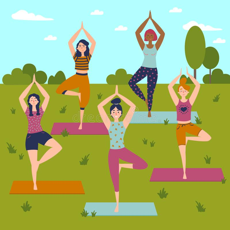 Set with beautiful women in vrkasana pose of yoga stock vector vector set of exercises illustration five women in outdoor yoga class helthy lifestyle sun greeting sky trees and grass background flat m4hsunfo