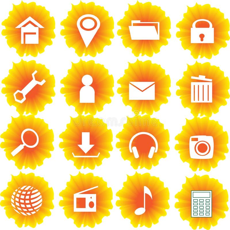 Yellow Flame Flower Web Icon and Button Set vector illustration