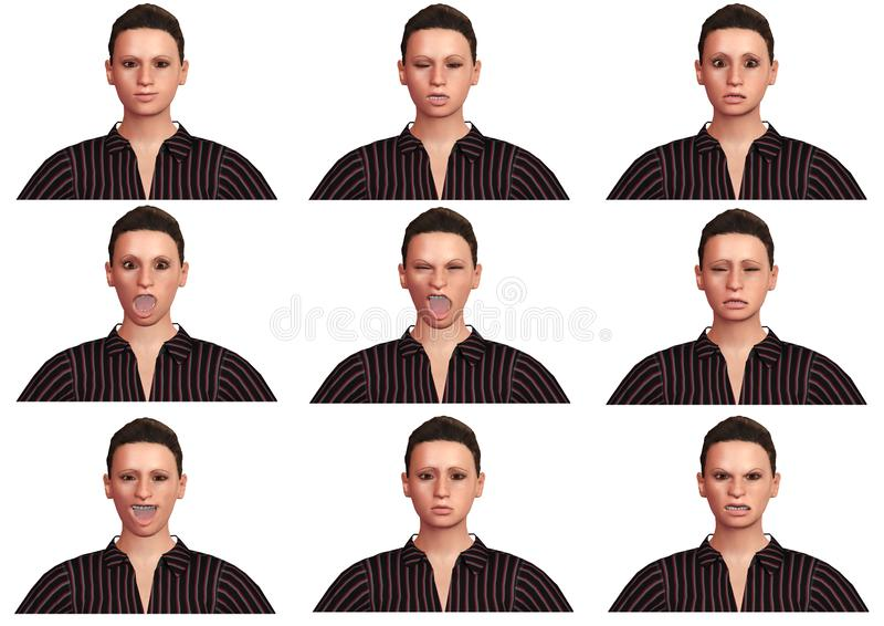 Set of beautiful young woman with facial expressions and different emotions isolated on white background. 3D Rendering vector illustration