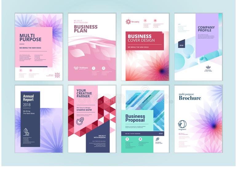 Set Of Beauty Brochure Annual Report Flyer Design Templates In A4