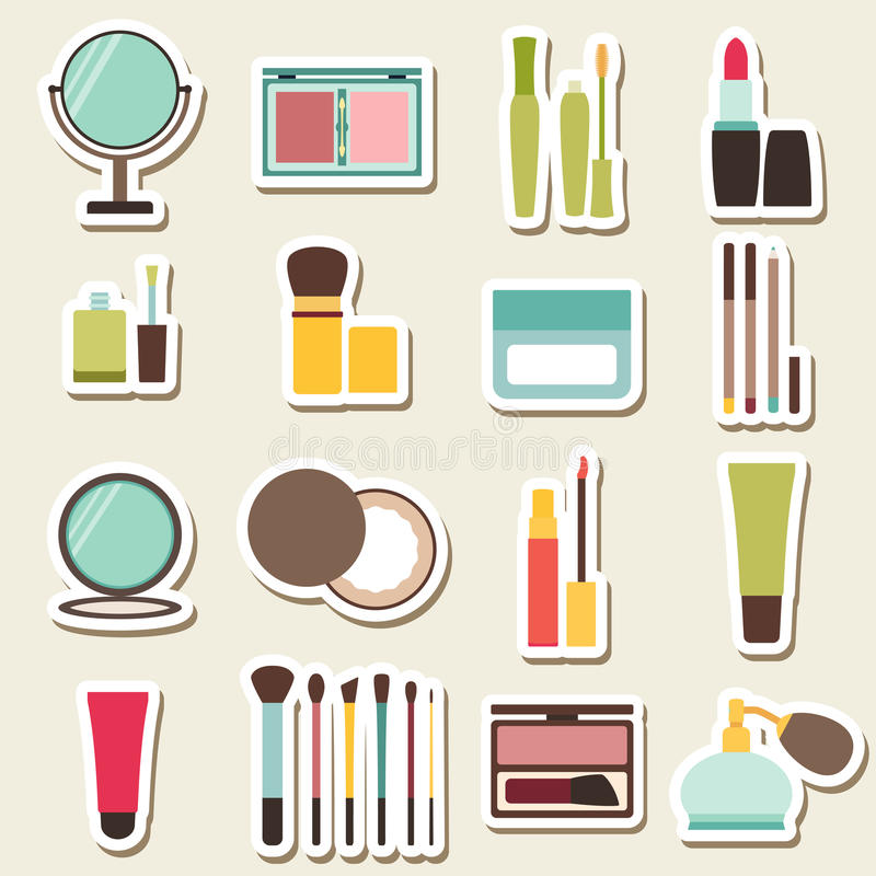 Set of beauty and cosmetics colorful icons royalty free illustration