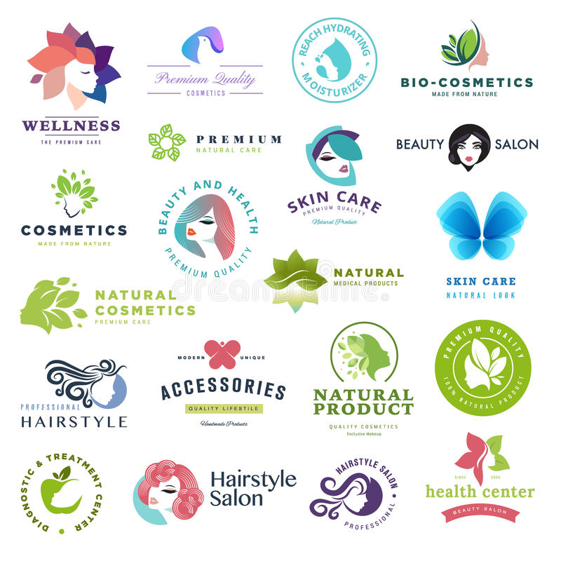 Set of beauty and cosmetics concept icons. Flat design vector illustration for cosmetics, healthcare, natural and organic products, wellness and spa, beauty and stock illustration