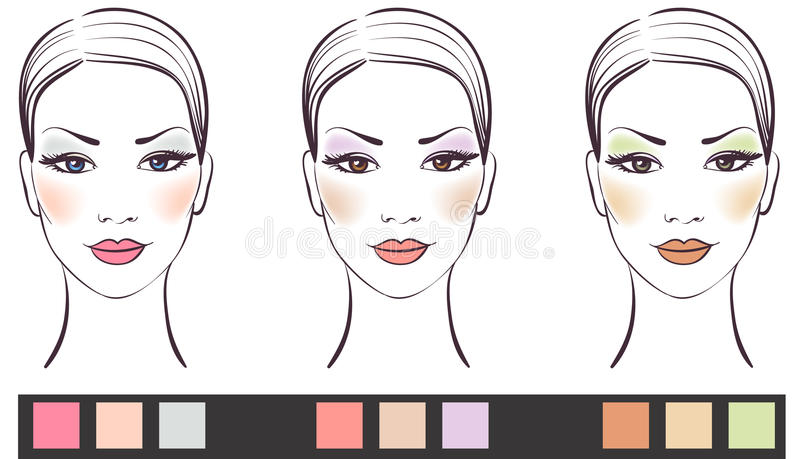 Set of beauty girl face with makeup royalty free illustration