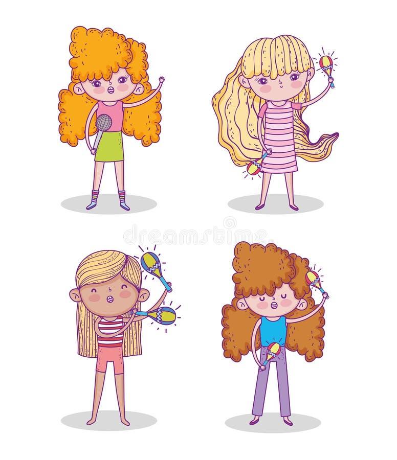 Set beauty girl play maracas and singing music royalty free illustration