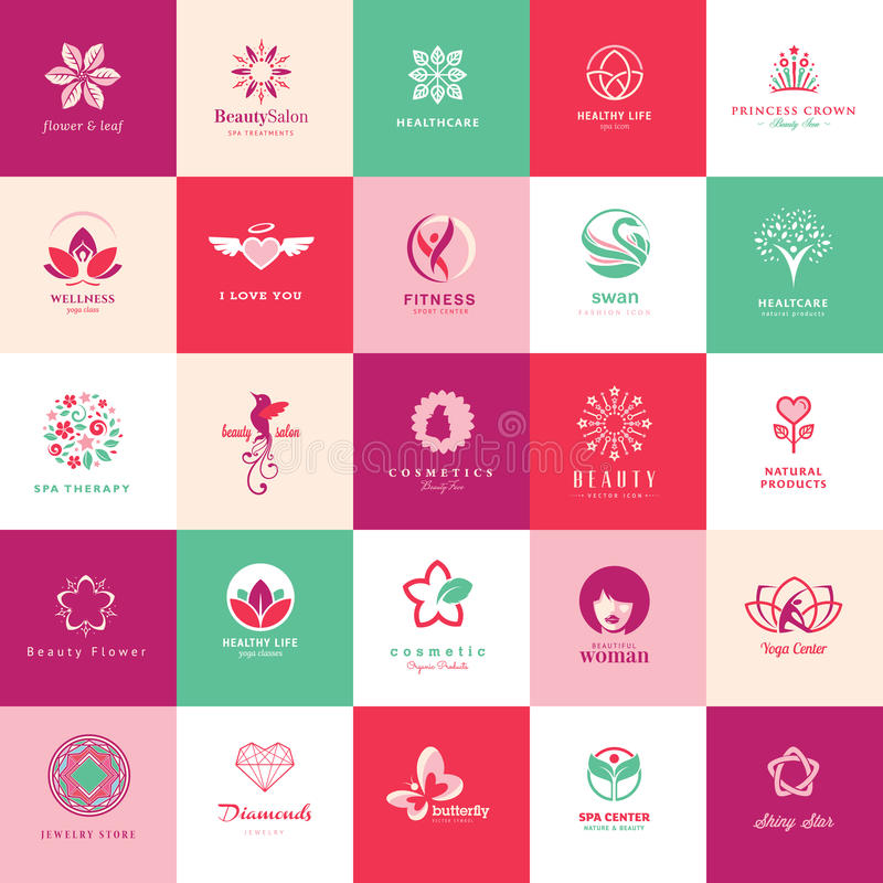 Set of beauty icons. Set of icons for beauty, cosmetics, spa and wellness