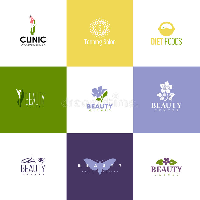 Set of beauty logo templates. Icons of flowers and leaves. Set of beauty logo templates. Icons of beautiful flowers and leaves royalty free illustration