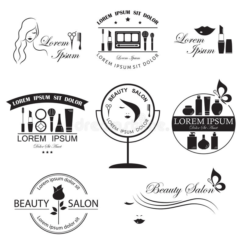 Set of beauty logo templates. Labels, badges, design elements for beauty salon, beauty center, cosmetics, spa and wellness vector illustration