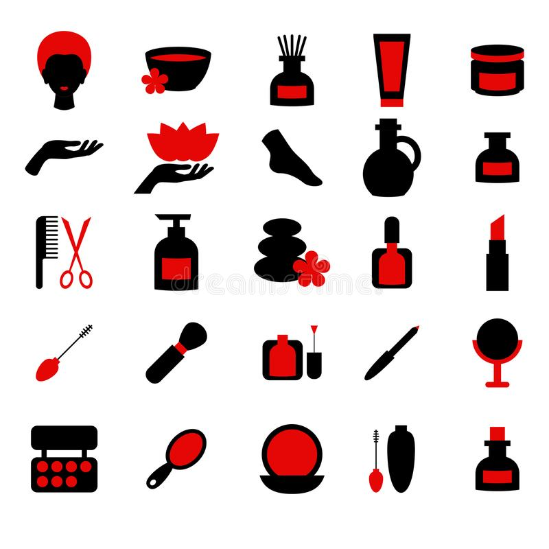 Beauty and makeup icons royalty free illustration