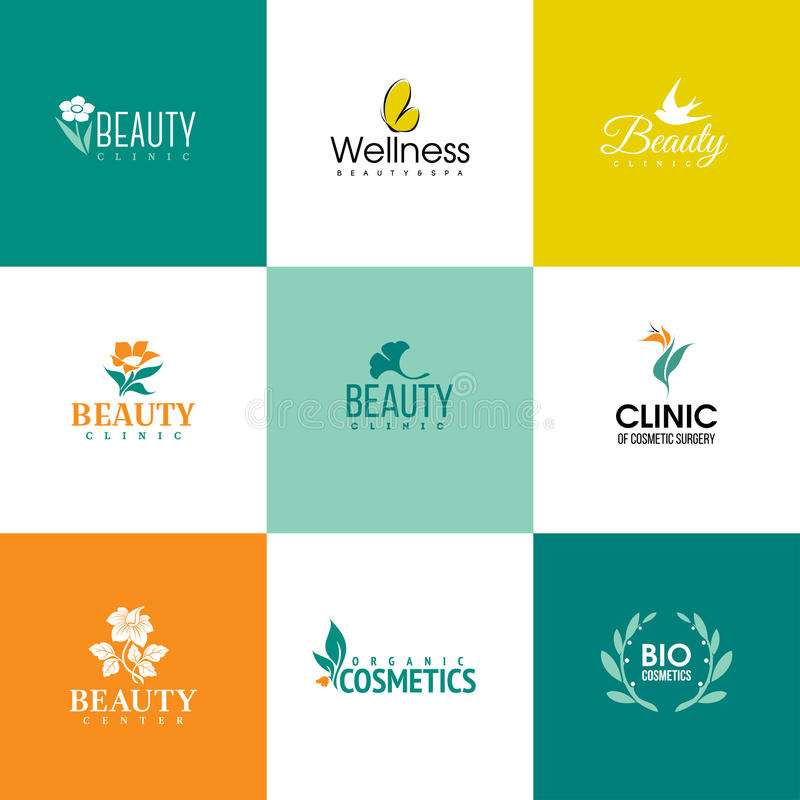 Set of beauty and nature logo templates. Flowers and leaves. Set of beauty and nature logo templates. Icons of flowers and leaves royalty free illustration