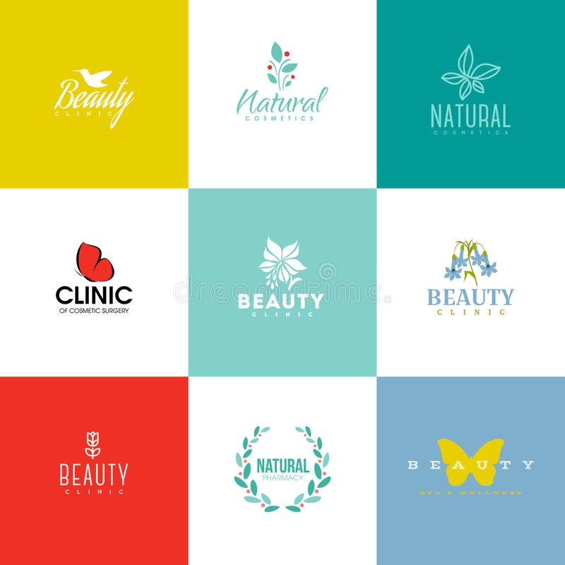 Set of beauty and nature logo templates and icons. Set of modern beauty and nature logo templates and icons stock illustration