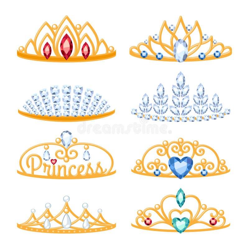 Set of beautyful golden tiaras with gemstones. vector illustration