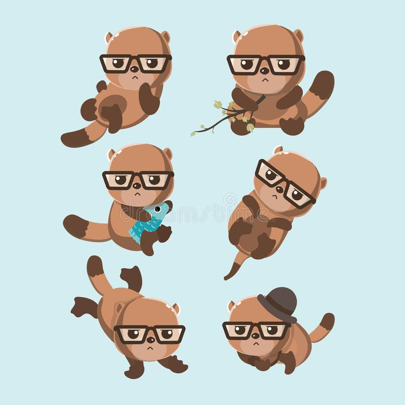 Set of beavers. royalty free illustration
