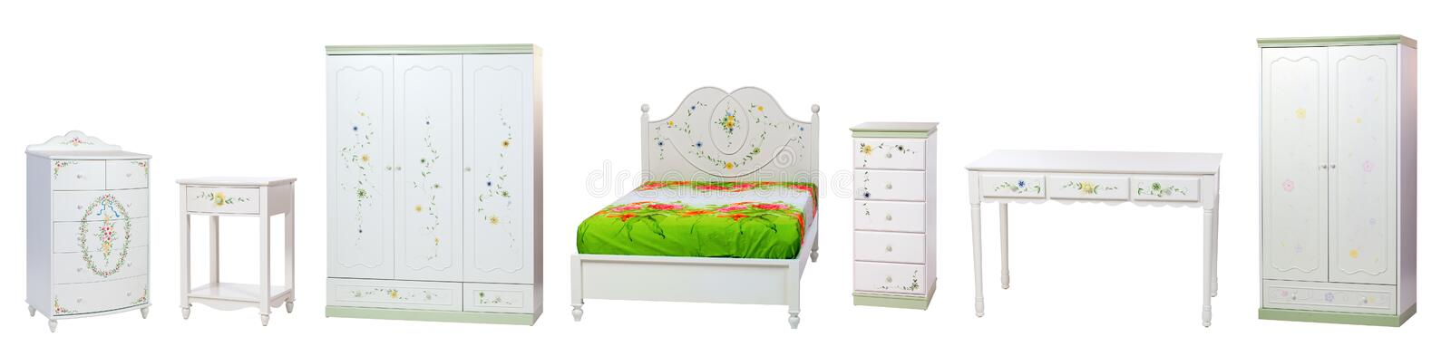 Set of bedroom furniture. Isolated over white. With clipping path royalty free stock photos
