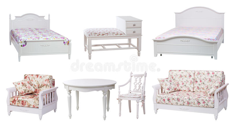Set of bedroom and living-room furniture. Isolated over white stock photo