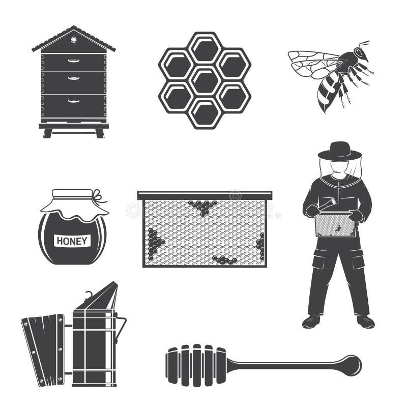 Set of beekeeping Equipment silhouette icons. Vector. Set include beekeeper, bee, beehive, bee smoker, honeycombs stock illustration