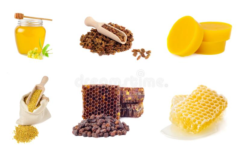 Set of beekeeping products on a white background. Honey, pollen, propolis, bee bread, beeswax. Healthy foods. stock photography