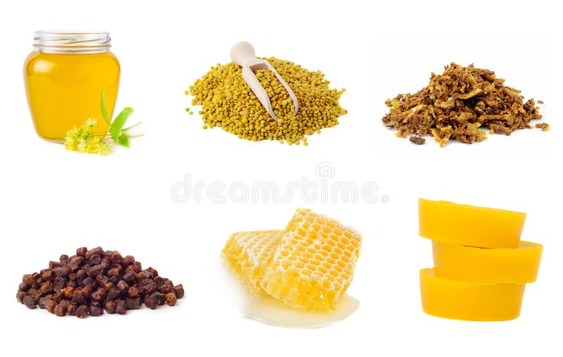 Set of beekeeping products on a white background. Honey, pollen, propolis, beer bread, beeswax. Healthy foods. royalty free stock image