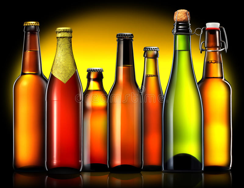 Set of beer bottles on black background royalty free stock images