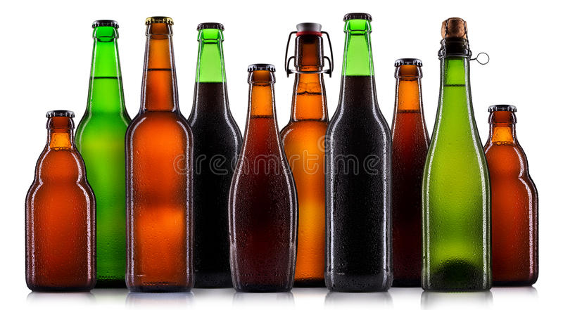 Set of beer bottles isolated royalty free stock photography