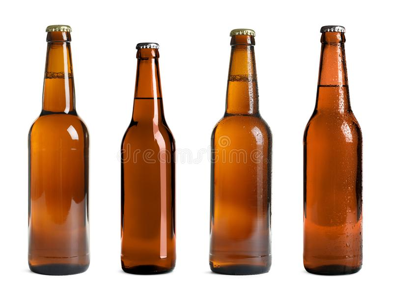 Set with beer bottles royalty free stock photography