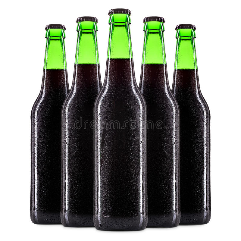 Set of beer bottles on white royalty free stock photography