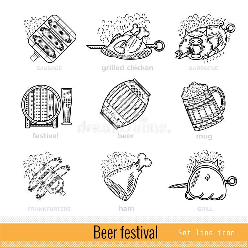 Set of Beer Festival Outline Web Icon stock illustration