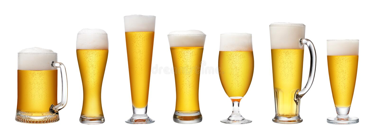 Set of beer glass. On a white background royalty free stock photos