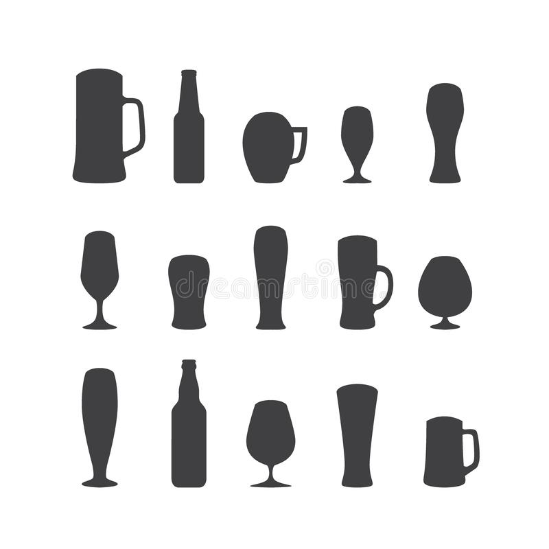Set of beer glasses and beer mugs icons. Vector design elements stock images