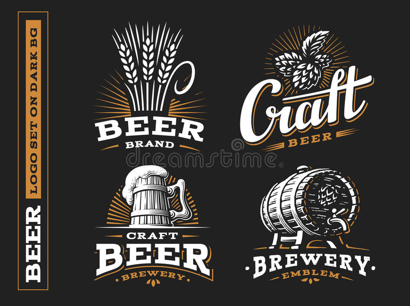 Set beer logo - vector illustration, emblem brewery design stock photo